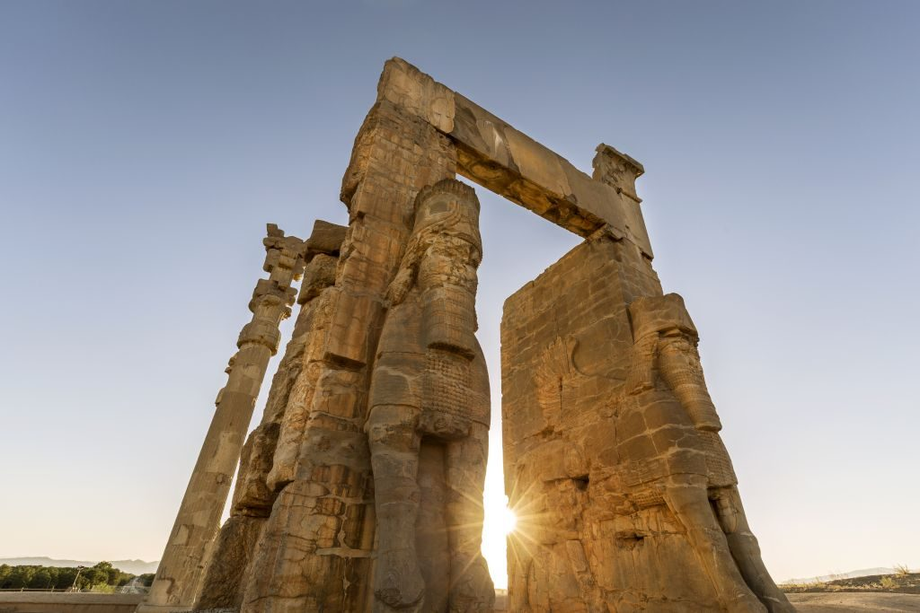 Gate of All Nations at Parsa (Persepolis), built by Xerxes I, easterns entrance guarded by two Lamassu creatures