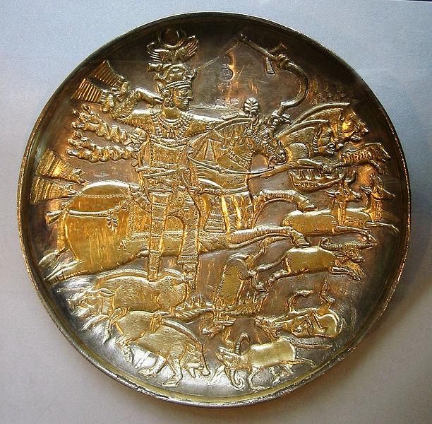 סצינת ציד של המלך ח'וסרו I על קערה