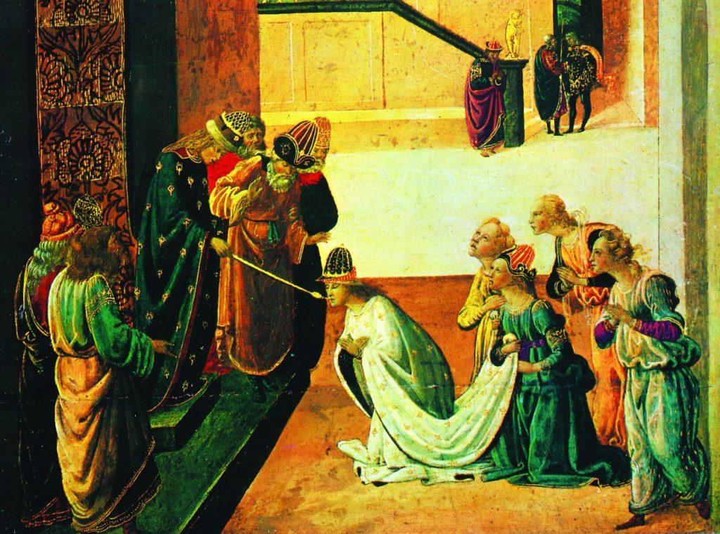 סיפורה הדרמטי של מגילת אסתר הצית את דמיונם של אמנים רבים לאורך הדורות ואינספור יצירות נעשו בהשראת סצנות מתוכה. אחשורוש מושיט לאסתר את השרביט