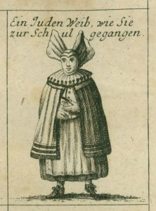 עדות נדירה לאופנה הנשית היהודית בבית הכנסת, בגרמניה של המאה ה-18. מתוך הספר 'ידיעות היסטוריות אודות הקהילה היהודית שהתקיימה בעיר נירנברג', אנדראס וורפל, 1755