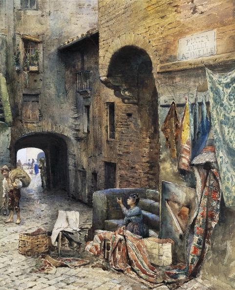 בית החולים היהודי הראשון נועד לבודד את הנדבקים במגפה בגטו של רומא. 'כיכר אזימלה בגטו', אטורה רוסלר פרנץ, צבעי מים, 1885