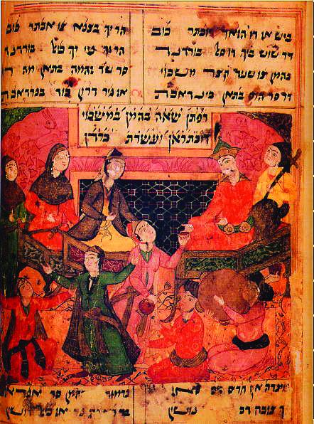 במסורות יהודיות מאוחרות יש גרסאות אחדות של סיפור המגילה, ולא כולן תואמות לתיאור המקראי. אסתר ואחשורוש בארמונם, פרט מתוך כתב יד מאויר מהמאה ה-17 של החיבור 'ארדשיר נאמה'