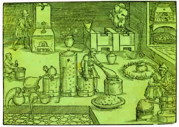 Alchemy apparently dates from the fifth century, combining elements of chemistry, physics, medicine, theology, and mysticism. Though today it's considered bogus, the experimental methods developed by its devotees form the basis of modern laboratory work. The Alchemist's Workshop, engraving by Lazarus Ercker, 1580