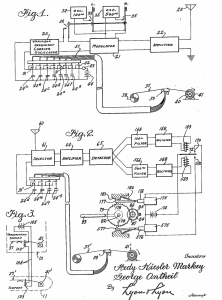 Diagrams from the original patent application for Lamarr and George Antheli's invention, 1942