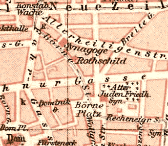 Frankfurt city map, 1893. The Judengasse was destroyed in 1887, leaving only the old synagogue and the Rothschild family home