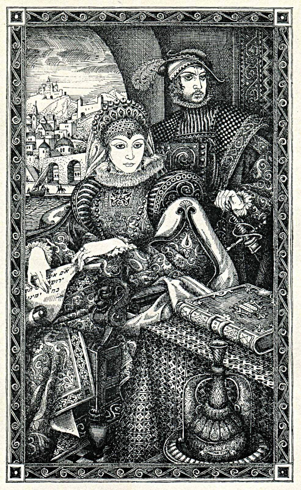 Arthur Szyk's engraving of Donna Gracia Mendes and her nephew Joseph Nasi, Duke of Naxos