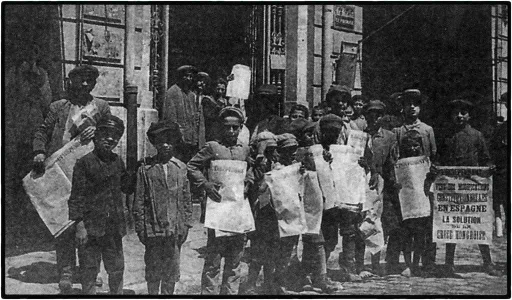 ילדים יהודים מוכרים עיתונים בסלוניקי, ראשית המאה העשרים