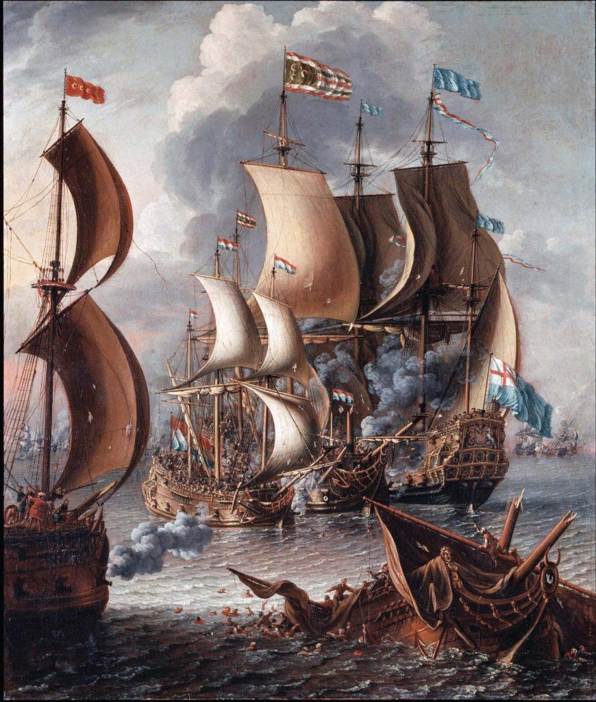 הפיראטים הצפון אפריקנים כונו באירופה 'ברברים' ונתפסו כאנשים אכזרים ובלתי תרבותיים במיוחד. קרב בין אניות מלחמה אירופיות לאניות של פיראטים ברברים, לוריס דה קסטרו, שמן על בד, סוף המאה ה־17