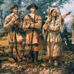 מריוות׳ר לואיס וויליאם קלרק עם סקגווה, מורת הדרך האינדיאנית שלהם, ב׳שלוש אצבעות׳ שבמונטנה, סמוך למוצאו של נהר המיזורי. מתוך ציור קיר של אדגר סמואל פקסון המוצג בלובי של בית הנבחרים במונטנה