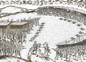 תחריט המתאר את קרב שלושת המלכים מתוך ספר שראה אור ב־1629 מציג את נחיתותו של הצבא הפורטוגזי. התחריט מוצג במוזאון פורט פונטה דה בנדרה בלאגוס שבפורטוגל
