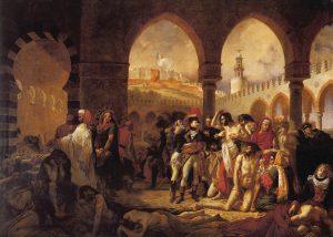 ביקורו הקצר של נפוליאון בארץ ישראל הותיר רושם רב על תושבי הארץ. נפוליאון מבקר חולים ביפו. ז'אן אנטואן גרו, שמן על בד, 1894