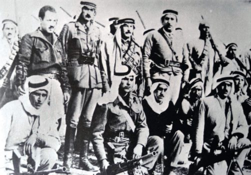 Ibrahim Abu Dayya, commander of Army of Jihad, was born in 1917 in the village of Surif, by the Etzion Bloc. In World War II, he joined the regiment raised by the mufti of Jerusalem under Nazi command. In the War of Independence, Abu Dayya directed several successful battles, including that which destroyed the IDF's 35th Regiment (the Lamed Heh) on the way to Jerusalem. The battle for Kibbutz Ramat Rachel left him a paraplegic. Abu Dayya (kneeling, in a black shirt) with other officers of the Army of Jihad, February 1948. Abd al-Qader al-Husseini is standing just behind him