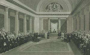 איור זה של הסנהדרין שהקים נפוליאון מדגים את האופי הממלכתי והרשמי שביקש לשוות למוסד זה