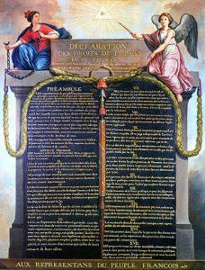 הצהרת זכויות האדם והאזרח הייתה אחד המסמכים הראשונים בהיסטוריה שנועדו להבטיח שיוויון זכויות מלא לכלל אזרחי המדינה. נוסח מעוטר של המגילה, זאן-זאק פררנסיס לה ברבי, 1789