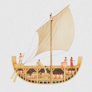 אחד היתרונות הבולטים של התובלה הימית היה היכולת לאחסן בבטן של ספינה אחת משא שאותו יוכלו לשאת גמלים וחמורים רבים. סבלים מעמיסים ספינה פניקית