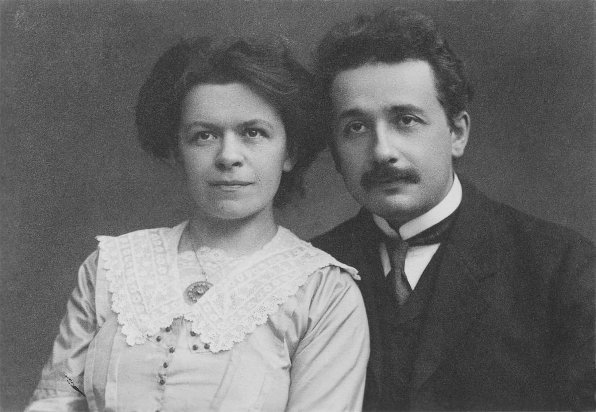 Fellow physicists in an ultimately failed relationship. Einstein with his first wife, Mileva Marić,  circa 1900