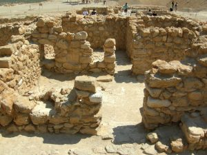 Remains of a first-century house in the sectarian community of Qumran, near the Dead Sea, an area frequented by the youthful Josephus in his search for spiritual direction