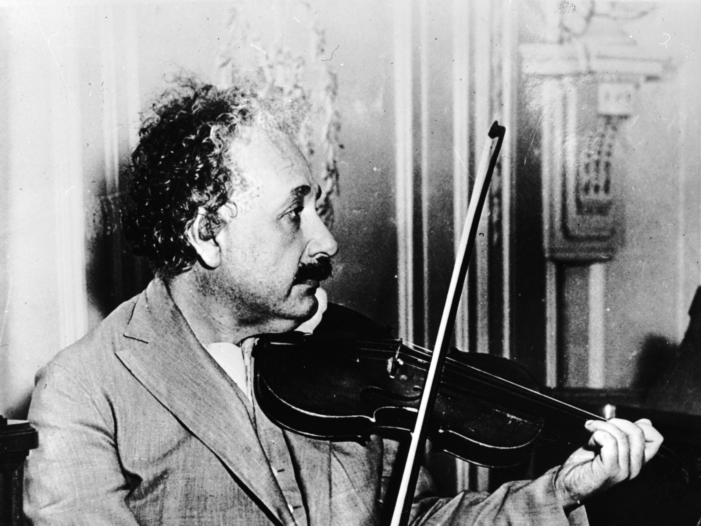 Fingers to the strings, on board ship from New York to San Diego, 1900. Einstein formed musical friendships wherever he went, often playing with other scientists. He claimed he owed some of his best ideas to the inspiration of his violin