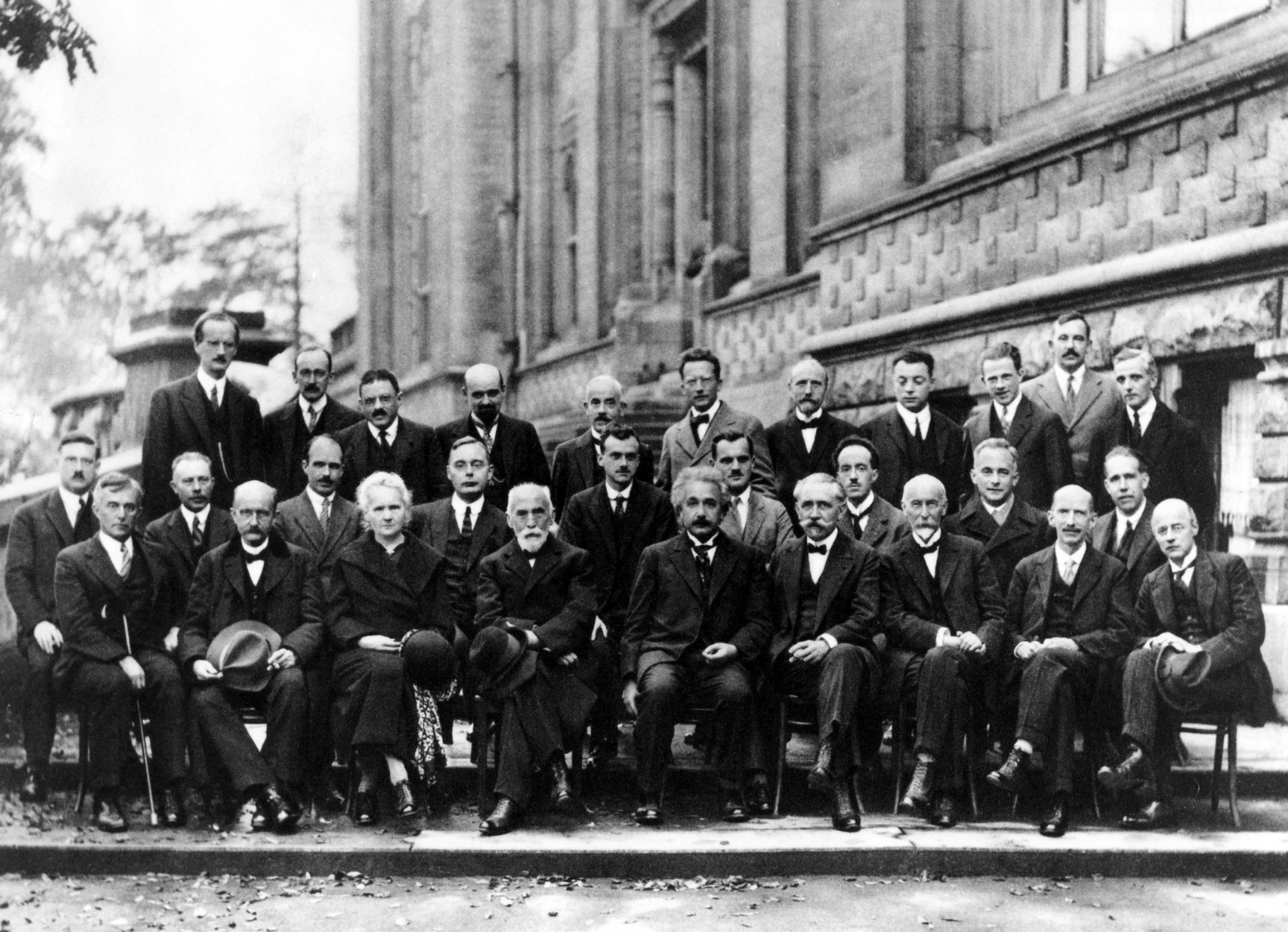 Einstein and colleagues at the 1927 Solvay Conference in Brussels on quantum mechanics, an extraordinary gathering of such famous physicists as M. Planck, Marie Curie, H. A. Lorentz, Niels Bohr, Erwin Shroedinger, W. Pauli, and W. Heisenberg