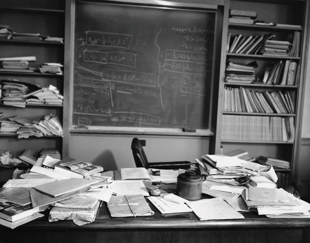 What was he working on? Einstein's office in Princeton has been preserved just as he left it, with formulas still on the blackboard, books and papers strewn across his desk, and his pipe lying among them