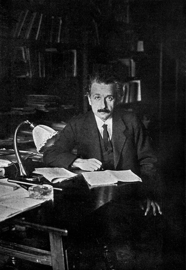 Germany was at the center of scientific development in the first decades of the 20th century. When Einstein accepted a teaching position at the University of Berlin, eight of the twelve people in the world interested in the theory of relativity were already there. Einstein in his office at the university, 1920
