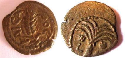מטבע של הנציב הראשון קופוניוס. בצדו האד שיבולת ובצדו השני עץ תמר