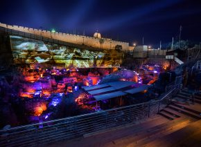 The Givati parking lot excavation, lit up by the sound and light show