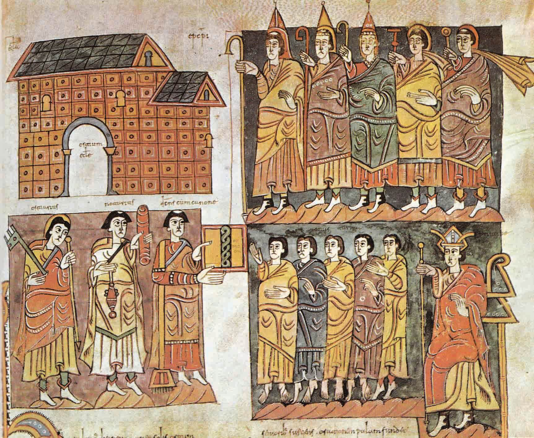 The Cortes was a pre-democratic assembly in Portugal, Spain, and other countries, its power varying with time and place. Detail from the Codex Vigilanus, a 10th-century collection of manuscripts, showing the Cortes in one of the Spanish kingdoms