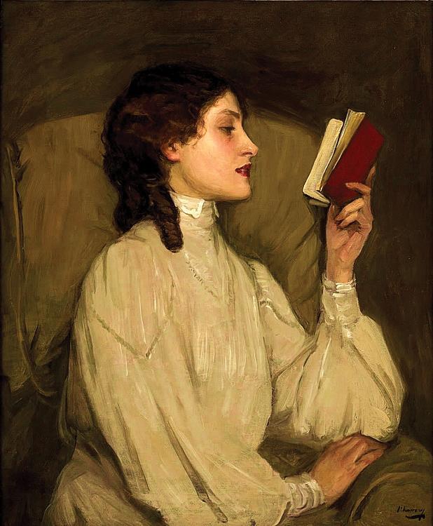 גברת אורס, הספר האדום. ג'ון לאברי, שמן על בד, 1892