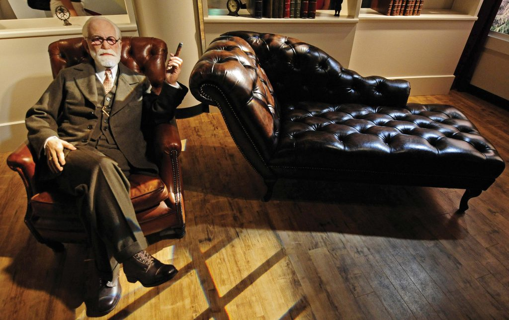 Freud and the psychoanalyst's couch became 20th-century icons. Waxwork from the House of Wax, produced for Vienna's famous Prater Amusement Park by Madame Tussaud's, London