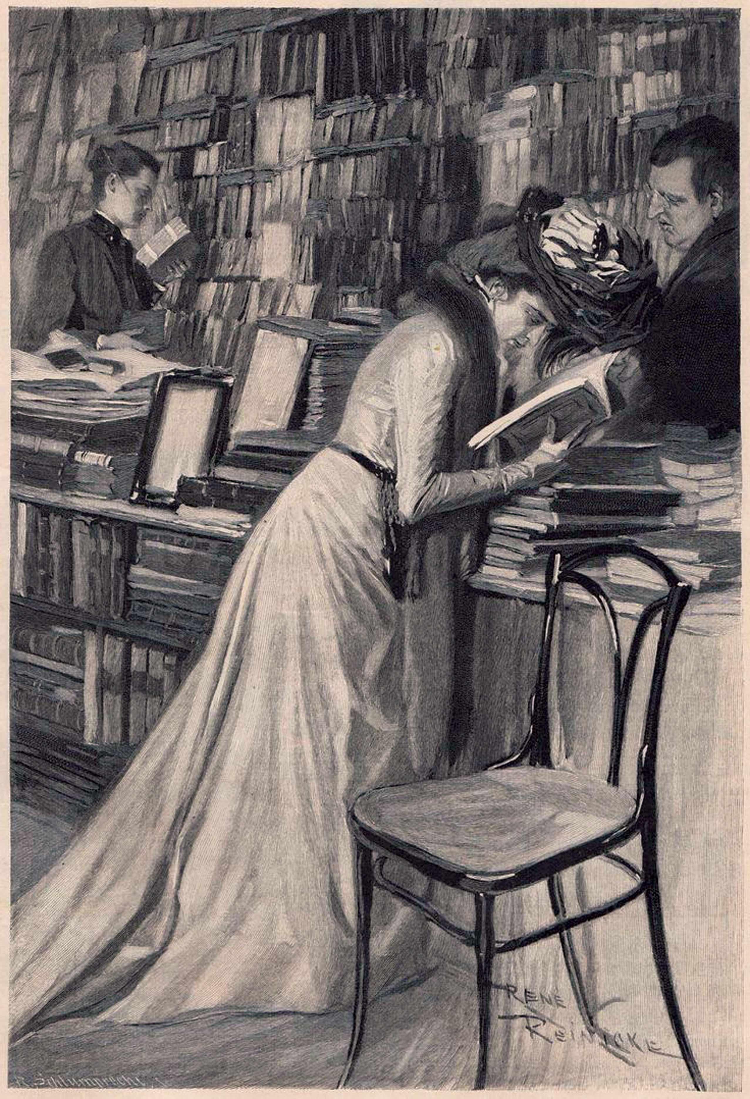 אשה מעיינת בספר בחנות ספרים, רישום מאת רנה רניק, שלהי המאה ה-19