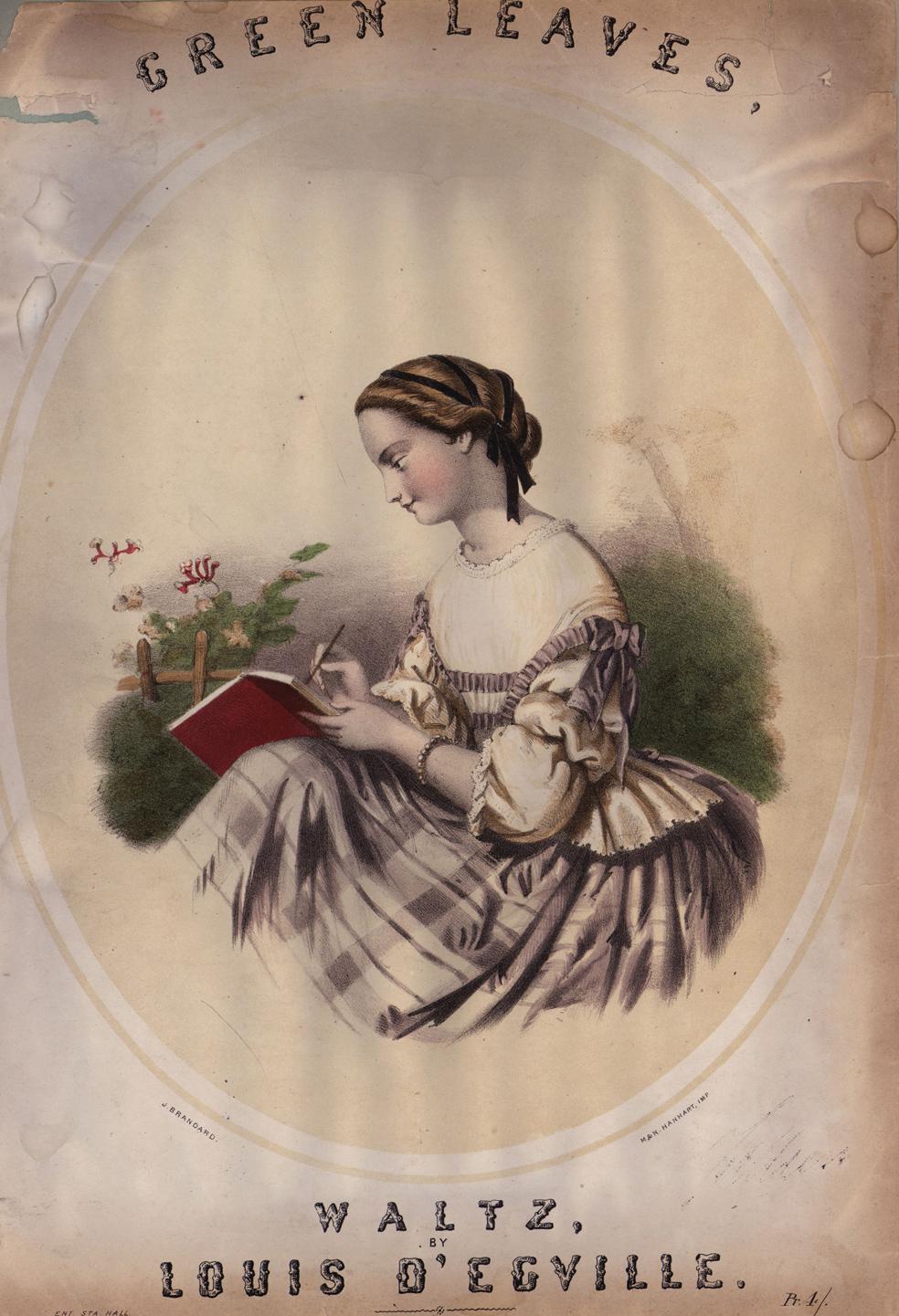 במהלך המאה ה־19 נערה כותבת הפכה לדימוי רומנטי שביטא את רוח התקופה. נערה כותבת במחברת אדומה, איור שהופיע על כריכת חוברת התווים של הוולס 'עלים ירוקים', 1840