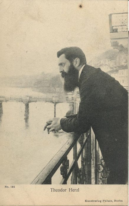 Herzl observing the Rhine from the balcony of Hotel Les Trois Rois during the Fifth Zionist Congress in December 1901, in Basel.
