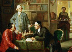 לסינג, מנדלסון ולווטאר, מוריץ אופנהיים, שמן על בד, 1856