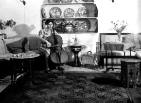 Internationally famous cellist Thelma Yellin playing in her Jerusalem living room
