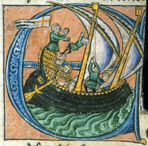 Dagobert, patriarch of Jerusalem, sailing for Apulia in a ship flying the Kingdom of Jerusalem's flag, 13th century