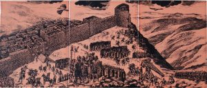 בשל חשיבותה של גמלא עזבו הרומאים את הגליל לפני שהשלימו את כיבושו וצרו על גמלא. איור של המצור המוצג כיום במרכז המבקרים בגן הלאומי גמלא
