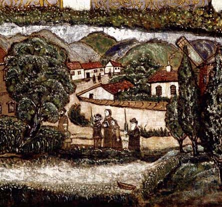 With the four species of the Sukkot holiday in the Hungarian countryside, detail from the Kavanot sukka panel