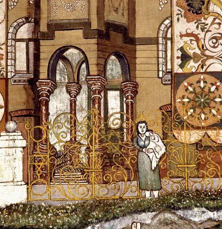 בעיטורי השוליים של סדר האושפיזין מופיעים גם אורחים מוכרים מבני משפחתו של האמן. פירושקה לינדנבלט עם בנה התינוק יהודה