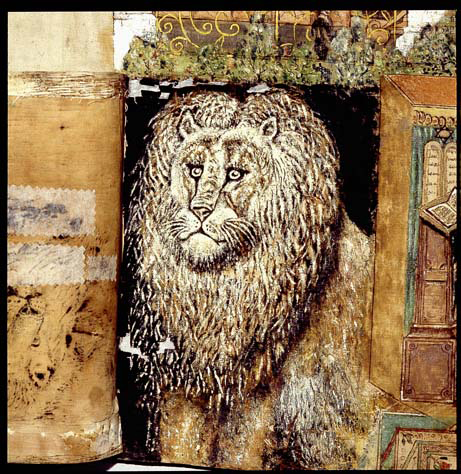 Lion's head - and artist's emblem - from Arye Steinberger's sukka hangings