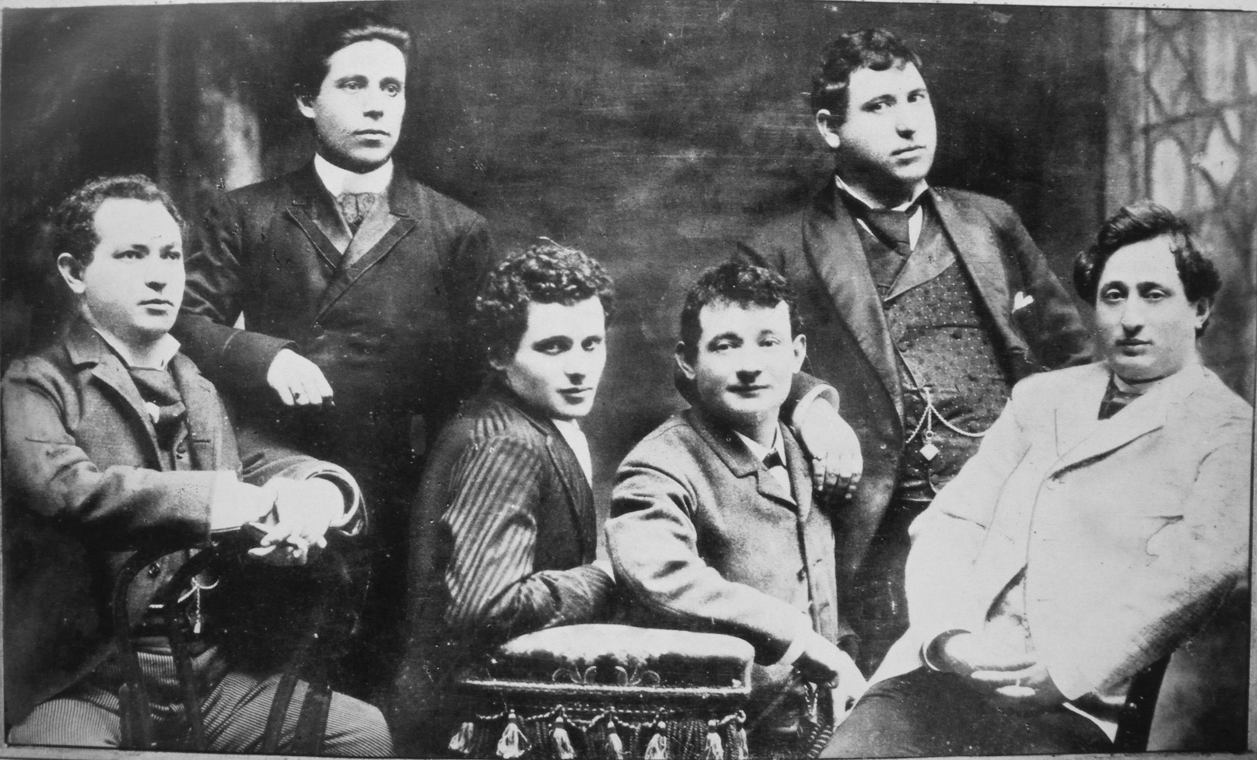 Odessa's loss, England and America's gain. Jacob Adler (far right) with other actors from the Yiddish theater, New York, 1888