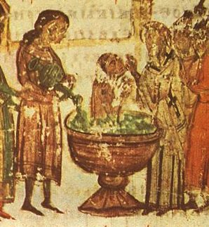 התנצרות בולגרים. מיניאטורה 57 מתוך כרוניקה מנאסה, המאה ה14