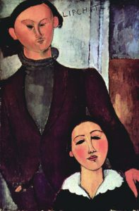 Jacques and Berthe Lipchitz (1916) Artist: Amedeo Clemente Modigliani (1884–1920) Media: Oil on canvas Location: The Art Institute of Chicago Period: Expressionism