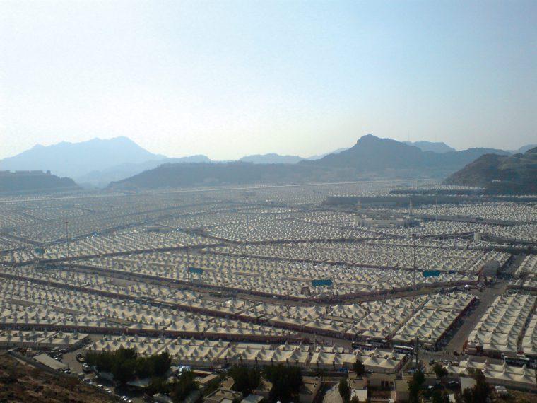 Contemporary model. Tent city for temporary pilgrim accommodation in Mina, near Medina