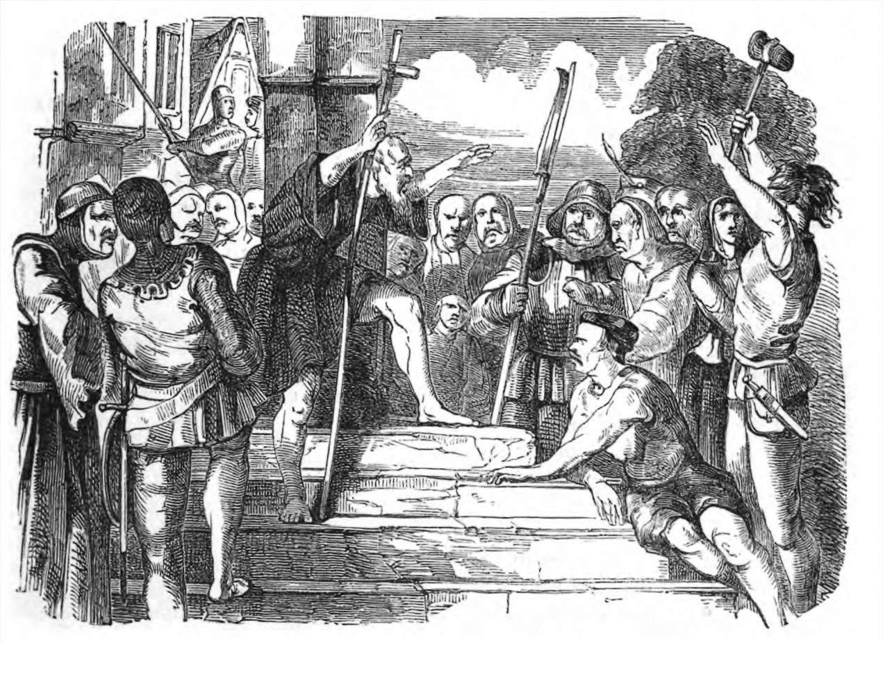 Illustration showing Peter preaching to Crusaders