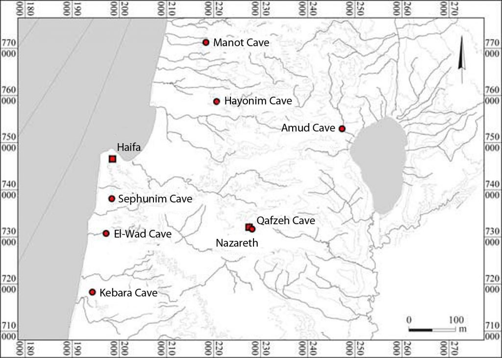 Map showing archaeological sites associated with prehistoric man in northern Israel