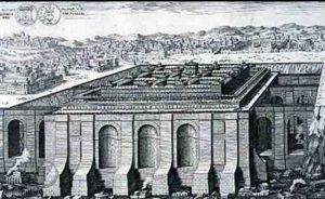 מבט דמיוני על מקדש שלמה, מתוך סקיצות של אדריכלות היסטורית, וון-ארלך וברנהרד, 1721. בציור, המקדש חצוב בסלע ובעל ממדי ענק
