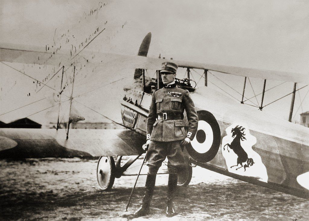 Italian flying ace Baron Francesco Baracca poses with his Spad XIII, the plane that downed countless enemy aircraft. Such exploits remain among the most difficult and dangerous military operations, lending pilots an aura of heroism and fame