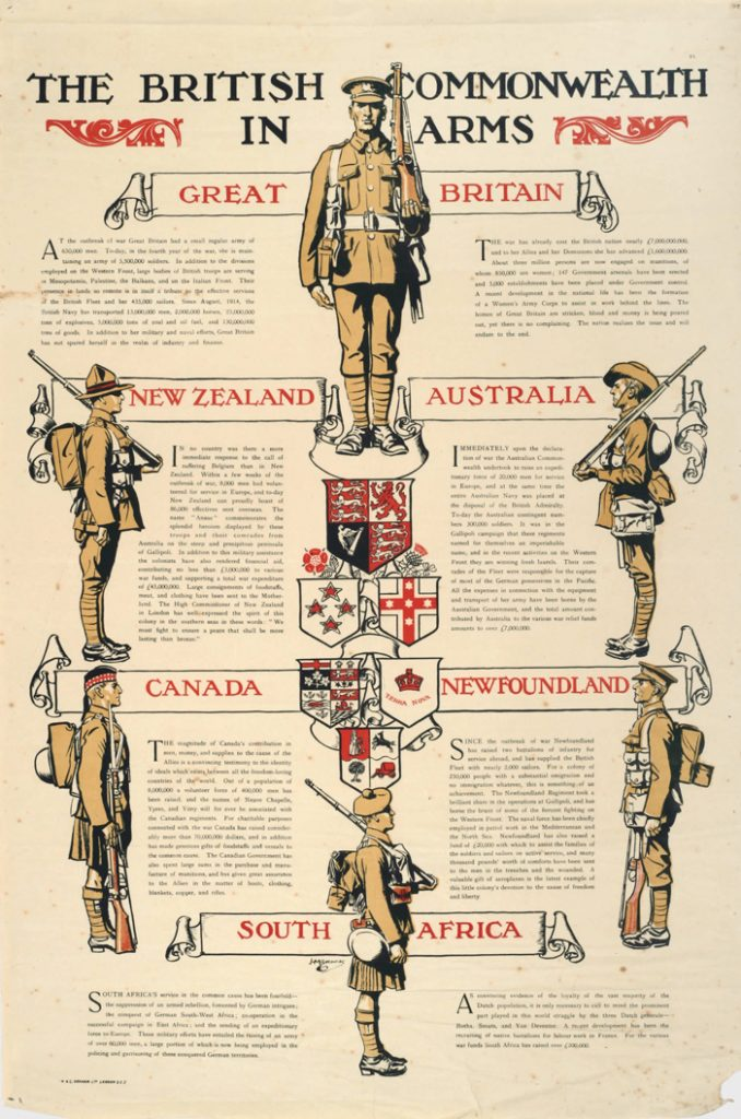 Though most armies had adopted camouflage uniforms before the war, the French retained their red pantaloons and blue shirts. Many British dress uniforms also had various colorful, obsolete features, the kilt being a prime example. Poster showing the uniforms of different nationalities within the British imperial army