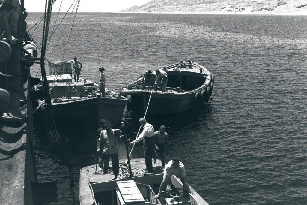 Cargo being unloaded in Eilat's port, 1951